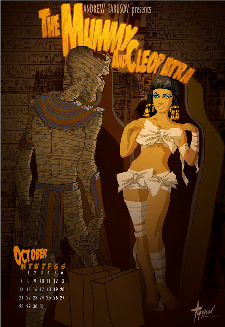 10_October - Elizabeth Taylor and Boris Karloff in The Mummy and Cleopatra