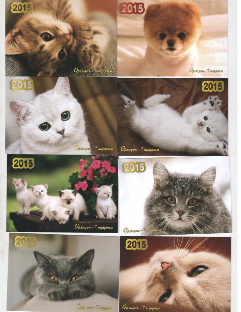 Кошки на карманных календариках и в рекламе